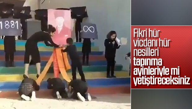 REZALET GÖRÜNTÜLER! ATATÜRK'E SECDE ETTİRDİLER